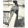 Charcoal drawing 20th c woman by the seaside 1989 framed signed b rouve and dated 16 12 x 13 sight