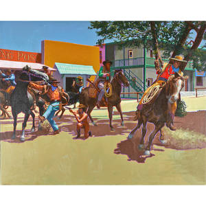 Richard allan george american 19351990 oil on canvas western street scene 2 framed signed 40 x 50