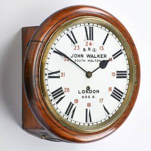 John walker brighton  south coast railway clock model 996 b london late 19th c mahogany marked john walker 1 south molton st london 996 b 13 x 13 x 6