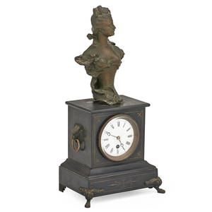 French marble mantel clock spelter bust on black marble base eight day time only movement ca 1900 signed h allonardi 12 23 x 7 12 x 5 14