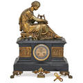 French marble mantel clock classical bronze figure with ormolu panels eight day time and strike movement with open escapement ca 1900 signed e aizelin 19 x 14 x 8