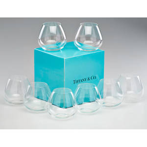 Elsa peretti tiffany  co set of eight thumbprint brandy snifters in original boxes england crystal all marked each 4 x 4