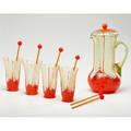 Czechoslovakian vaseline lemonade set lidded pitcher four glasses and six stirrers 1950s pitcher and glasses marked pitcher 11 12 x 6 12