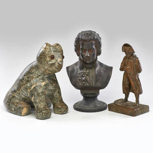 Sculpture group three figural sculptures full figure bronze of napoleon ceramic bust of mozart and stone dog with glass eyes late 19thearly 20th c mozart 10 34