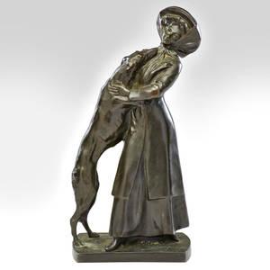 Stephen schwartz 18511924 bronze sculpture of woman with a dog austria 20th c signed s t schwartz 16 x 8 x 5 12