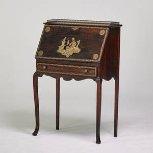 Louis xv style slant front desk with gallery top early 20th c mahogany gilded brass 40 14 x 27 12 x 15