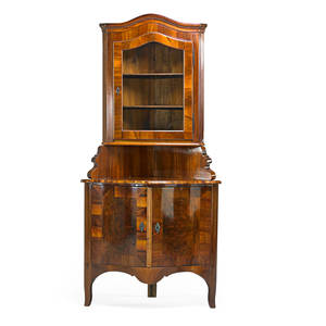 German baroque style corner cabinet black walnut with single glazed door above two cabinet doors late 19th c 78 x 37 14 x 21 14