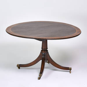 English tillman round pedestal dining table with five extensions mid20th c mahogany with satinwood banding 19 12 x 50 12 without extensions 66 dia with extensions