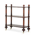 Tiered serving trolley mahogany with three tiers on casters 20th c 52 x 47 12 x 20 12