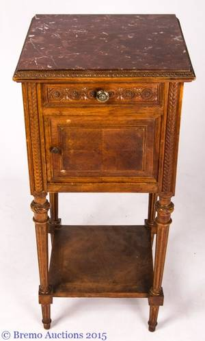 French Louis XVI Style MarbleTop Nightstand