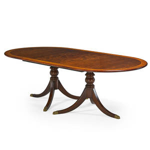 George iii style double pedestal dining table mahogany with satinwood banded inlay two leaves late 20th c 30 x 96 x 48 12 leaf 23 58