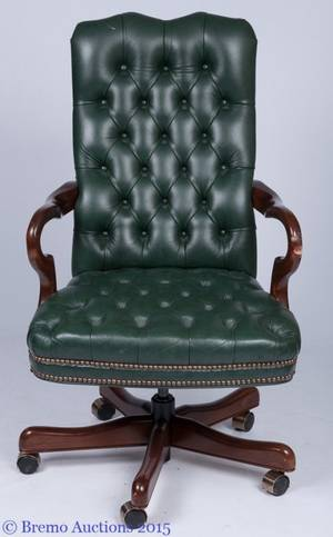 Fairfield Chair Co Green Leather Office Chair