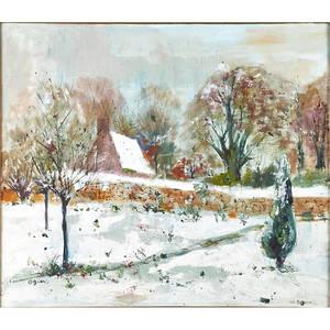 Marie louise ogier french b 1912  oil on linen of a winter landscape framed signed 21 12 x 25 12