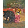 Lajos markos hungarianamerican 19171993 two oil on masonite paintings matador and bull madrid 1964 framed signed and dated 17 x 22 34 inlet scene framed signed 15 34 x 20