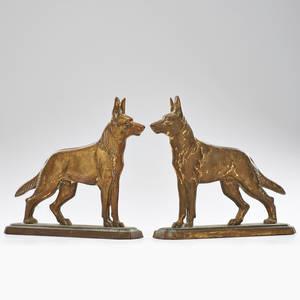 Metalware pair of cast iron german shepherds door stoppers three rivers quebec ca 1930s both marked 12 x 13 x 3