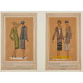 Tres parisien fashion plates 1920s nine pochoirs on tissue paper 19261928 all framed two pairs each 9 14 x 5 34 sheet