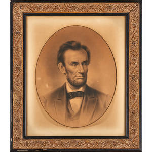 Abraham lincoln portrait late 19th c engraving framed printer wj morgan and co 1881 23 78 x 20