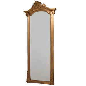 Victorian pier mirror late 19th c mirrored glass gilt gessoed wood unmarked 98 x 38 x 12