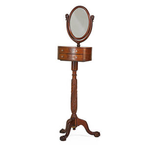 Victorian shaving mirror mahogany carved pedestal on ball and claw feet 19th c 67 34 x 18 12 x 13 14