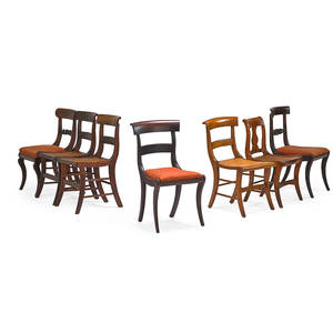 American klismos side chairs seven 19th20th c assembled group in mahogany one pair tiger maple four similar with horizontal slates and one associated chair largest 35 x 19 x 24