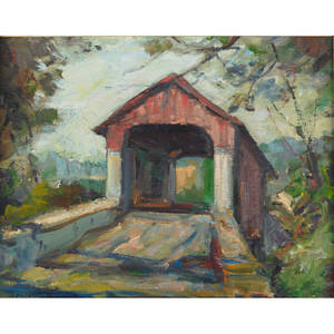 Theodore spawn american 20th c oil on canvas board of a covered bridge framed 16 x 20