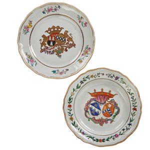 Chinese armorial porcelain two each with floral and vine borders and central armorial crest early 19th c larger 1 34 x 9 38