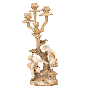 Royal worcester porcelain candelabra tree form with figures of a young girl and boy late 19th c 19 12