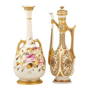 Royal worcester porcelain vases two one lidded ewer with reticulated panels together with two handled vase with floral sprays early 20th c taller 15