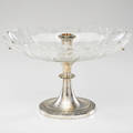 Christofle art deco centerpiece with silverplated base and cut crystal bowl paris earlymid 20th c silverplate marked 9 12 x 15 12 x 9 12
