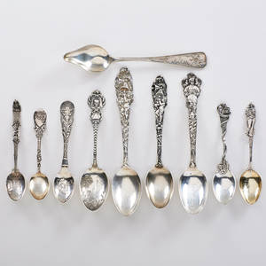 Sterling silver souvenir spoons group of ten in religious and holiday motifs earlymid 20th c easter christmas and halloween all marked longest 6 55 ot