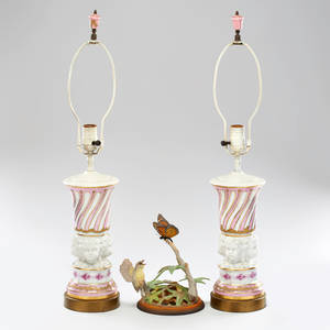 Decorative group pair of cherub decorated porcelain lamps together with boehm warbler butterfly figure 20th c boehm warbler marked lamps 16