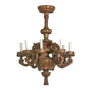 Italian baroque style chandelier eight arm in gilded wood electrified 20th c 36 x 27
