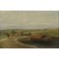 Canal scene 19th c oil on canvas 1889 framed signed s dobson and dated 24 x 36