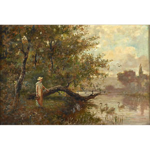 H johnson 19th20th c oil on canvas of a woman standing along a river signed 16 x 24