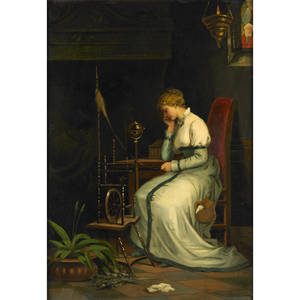 Figure in interior 19th c oil on canvas of a young woman spinning framed signed molino 37 x 19