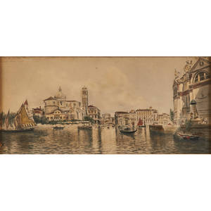 A m de reyna manescau spanish 18591937 watercolor on paper of a venice scene framed signed 14 x 6 58 sheet