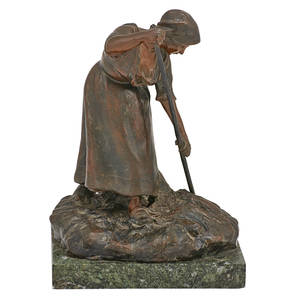 J chaleignon french 19th c bronze sculpture of a woman with rake in hand signed and stamped france 11 x 6 12 x 7 34