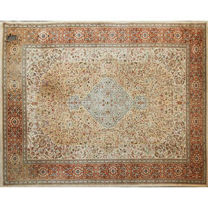 Tabriz oriental roomsized rug with all over floral patterns on beige ground early 20th c 183 x 142