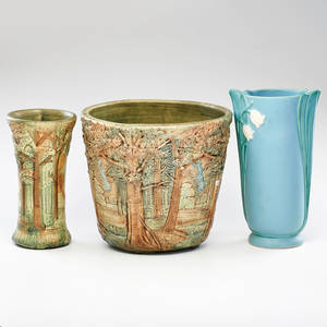 Weller knifewood jardiniere and vase with stylized vase zanesville oh early 20th c vases marked tallest 12 12 x 7 14