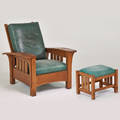 Stickley by ej audi contemporary bowarm morris chair and matching footstool manilus ny ca 1990s quartersawn oak leather l  jg stickley upholstery tag 40 x 35 x 40 12