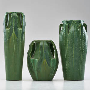 Kevin hicks ephraim faience pottery three reproduction vases in the style of grueby arrowroot fern and woodland arrowroot lake mills wi ca 2000 all marked tallest 14 x 4