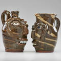Bb craig two face jugs vale nc glazed stoneware both marked taller 8 14 x 5