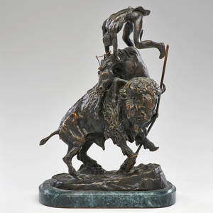After frederic remington 18611909 patinated metal sculpture on marble base buffalo horse 20th c signed at base 15 34 x 10 34 x 6