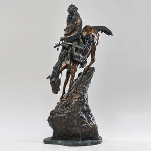 After frederic remington 18611909 patinated metal sculpture on marble base mountain man 20th c marked copyright by frederic remington double stamped signature and numbered 26200 27 x
