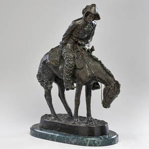 After frederic remington 18611909 patinated metal sculpture on marble base the norther 20th ct signed at base 22 12 x 17 14