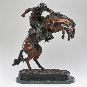 After frederic remington 18611909 bronze sculpture on marble base bronco buster 20th c signed at base marked 19200 21 14 x 14 12 x 8