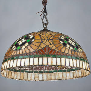 Arts and crafts hemispheric leaded glass hanging shade usa slag glass brass unmarked 13 12 x 24