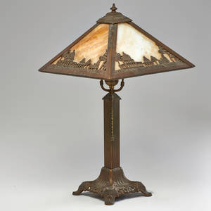Arts and crafts patinated metal table lamp with metal overlay slag glass shade decorated with arabian scenes usa 1920s to finial 21 x 12 sq