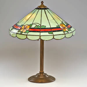 Handel attr table lamp base fitted with floral shade meridan ct early 20th c bronze slag glass two sockets unmarked 22 12 x 18 12