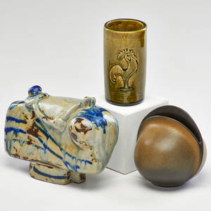 European ceramics four pieces rosenthal ovoid vase bull tabletop sculpture vase with rooster and vase with incised motif mid20th c some marked tallest 9 x 6